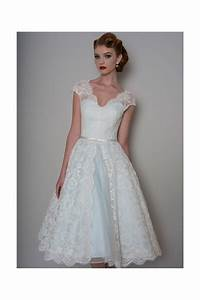 lb142 bella tea length lace blue wedding dress With short blue wedding dress