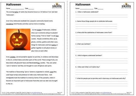 halloween reading comprehension skills workshop