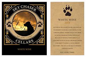 Customize your own white wine label template grogtag for Free wine label maker