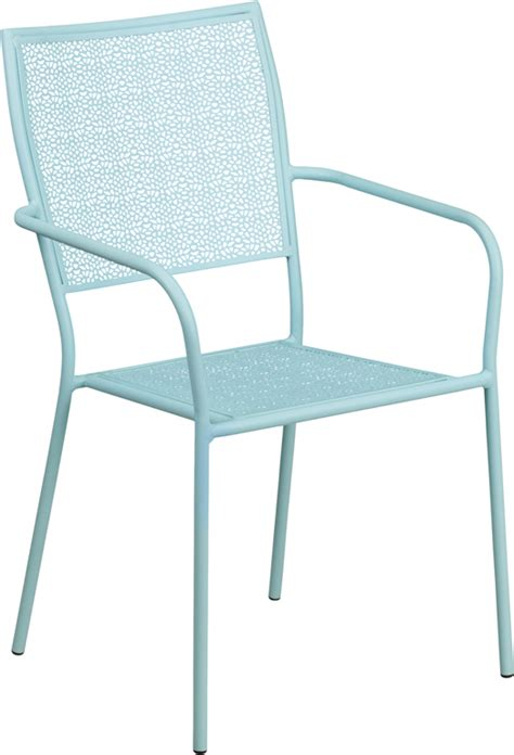 bellina light sky blue outdoor patio arm chair with eased