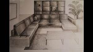 How to draw - One point perspective - living room ...
