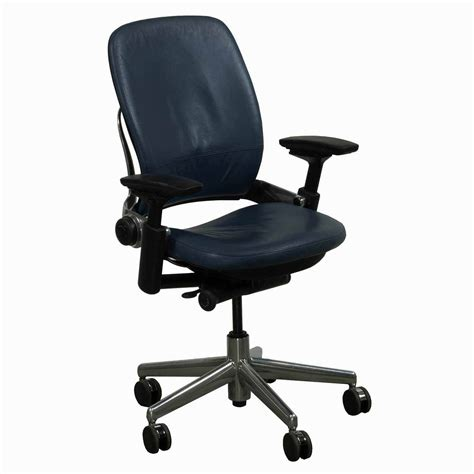 steelcase used leap v2 leather task chair navy national