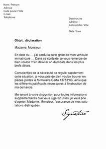 Perdu Carte Grise : lettre de d claration perte carte grise mod le de lettre ~ Maxctalentgroup.com Avis de Voitures