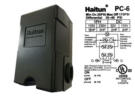 Haitun Adjustable Water Pressure Control Switch Psi