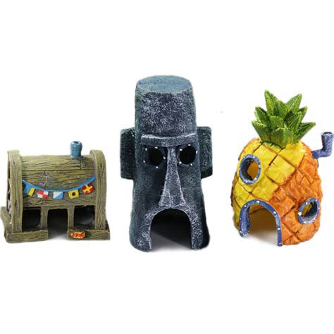 spongebob squidward tentacles eugene h krabs pineapple house aquarium fish tank decoration in