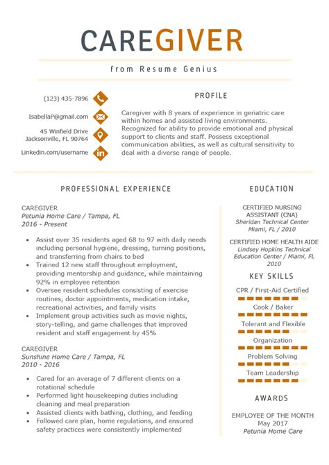 Resume For Caregiver by Caregiver Resume Exle Writing Guide Resume Genius