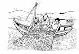 Fishing Coloring Fish Side Jesus Boat Cast Right Children John Catch Template Colouring Miraculous Said Them Any Some sketch template