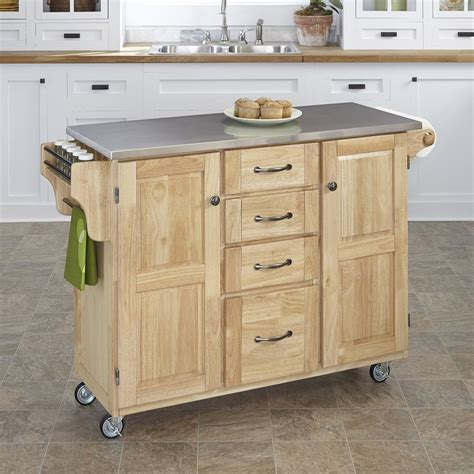 shop kitchen islands shop home styles 52 5 in l x 18 in w x 35 75 in h natural kitchen island casters at lowes com