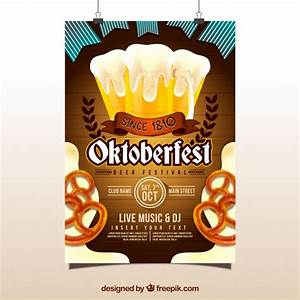 Oktoberfest poster with beer and pretzels Vector   Free ...