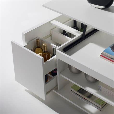 meuble cuisine range bouteille table basse relevable blanche concept
