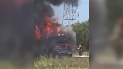 texas fire departments   truck destroyed  fire