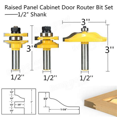 cabinet door router bit set 3pcs 1 2 inch shank two flute raised panel cabinet door