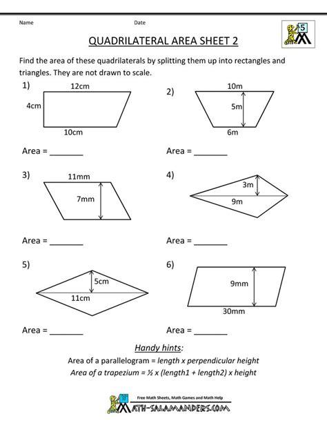 area  quadrilateral worksheets geometry worksheets