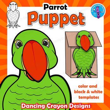 parrot craft activity paper bag bird puppet templates tpt