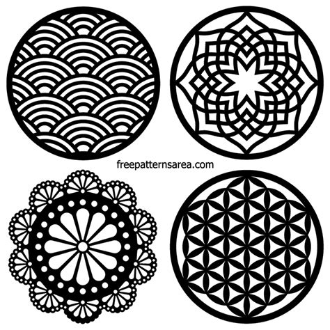 laser cut vector circle coaster ornamet  dxf designs