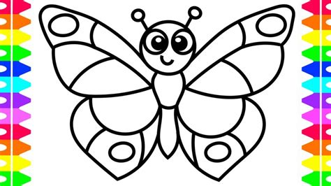 learn   draw  butterfly easy coloring pages  kids toddlers babies colored markers