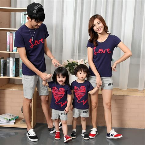Mother and daughter clothing Dad and son T shirt cotton family matching outfits short sleeve 832 ...