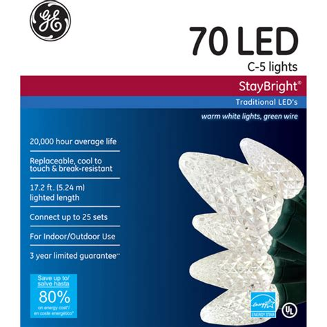 ge staybright led c5 warm white lights 70 count