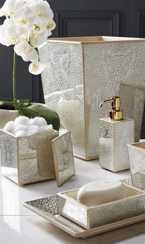 Mirrored Bathroom Accessories Sets by The Intricate Design Of Our Miraflores Bath Accessories Is