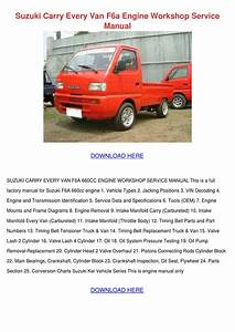 Suzuki Carry Every Van F6a Engine Workshop Se By