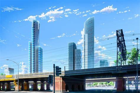 Download 600x1024 Anime Skyscrapers, City, Bridge, Clouds