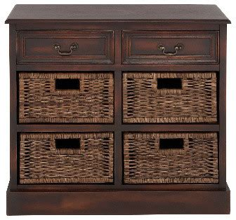 country wood cabinet  drawer  baskets brown accent table