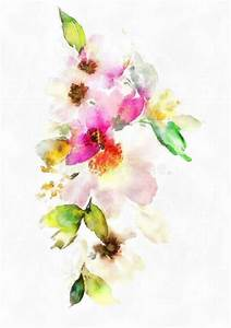 Watercolor Composition Pastel Colors Spring Summer Flowers