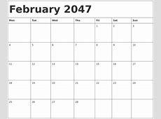 February 2047 Calendar Template