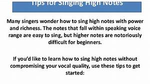 How to Hit High Notes When Singing : Singing High Notes ...