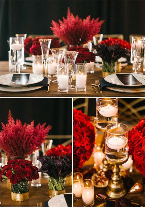 Luxurious Red And Gold Wedding Red Wedding Centerpieces