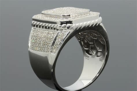 1.74 Carat 100% Genuine Diamonds Mens White Gold Finish