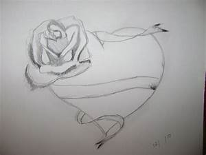 Best Sketch Of Heart How To Draw Heart & Rose Floral Art ...