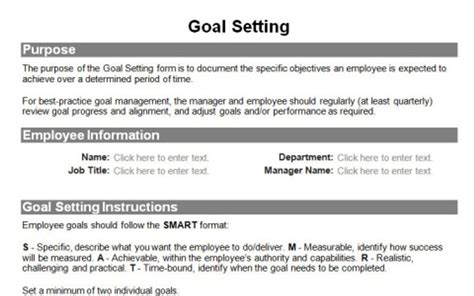 employee goal setting template employee lifecycle form pack resources