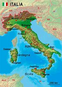 3d Italy  Detail Map Of - Lenticular Postcard Greeting Card