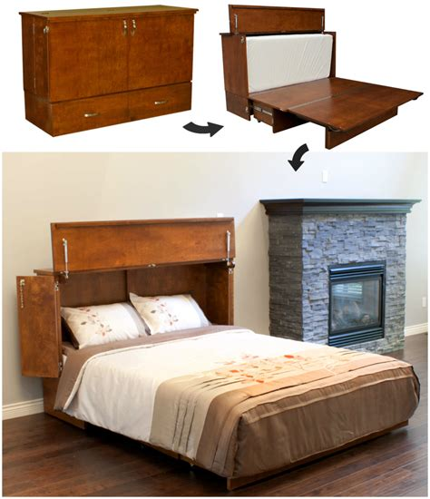desk transforms into bed space saving cabinet bed