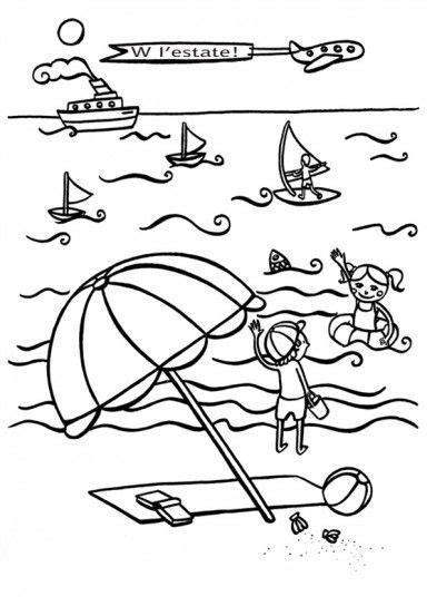 disegni bimbi al mare da colorare bambini al mare da colorare