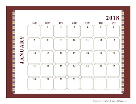 blank calendar large boxes template  printable