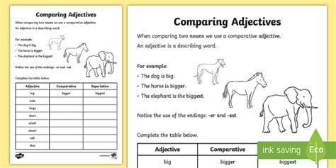 comparative adjectives worksheet adjectives worksheets