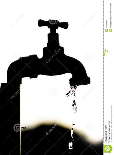silhouette   tap dripping water stock photography