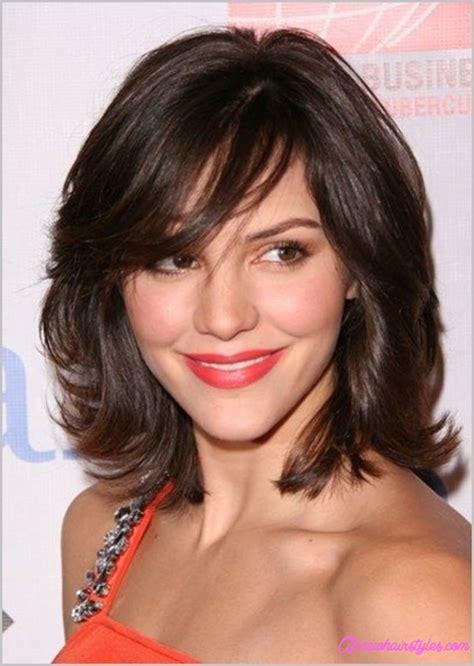 medium length haircuts  side swept bangs  layers