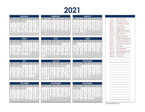 uk annual calendar  holidays  printable