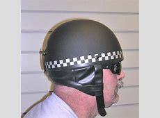 DOT Retro Style Silver Checkered Helmet British Pudding