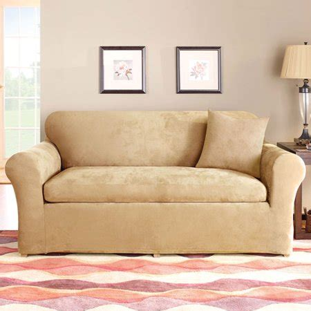 3 Loveseat Slipcover by Sure Fit Stretch Suede 3 Loveseat Slipcover