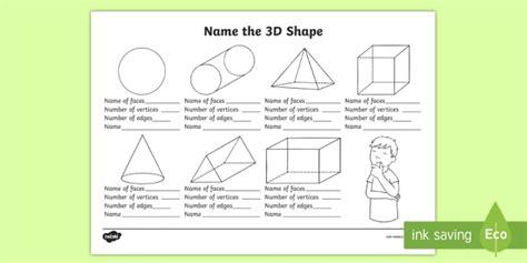 name the 3d shape year 2 worksheet worksheet 3d shape