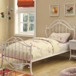 bella girls white twin scroll metal bed coaster furniture