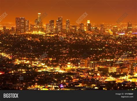 los angeles at city lights and skyline stock