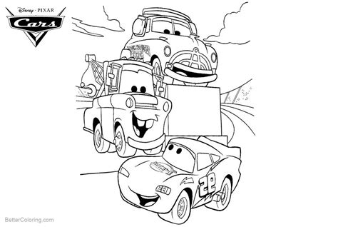 Lightning Mcqueen And Mater Coloring Pages To Print Cars Pixar Coloring Pages Lightning Mcqueen Luigi And Tow