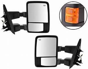 Towing Power Mirrors Set Left Right Side Black Pair Tow