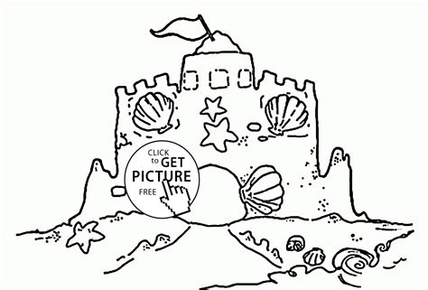 Coloring With Sand by Sand Castle With A Clamshell Coloring Page For