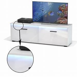 Tv Schrank Mit Rollen : tv lowboard in wei mit led beleuchtung 138 cm fernseh ~ Watch28wear.com Haus und Dekorationen